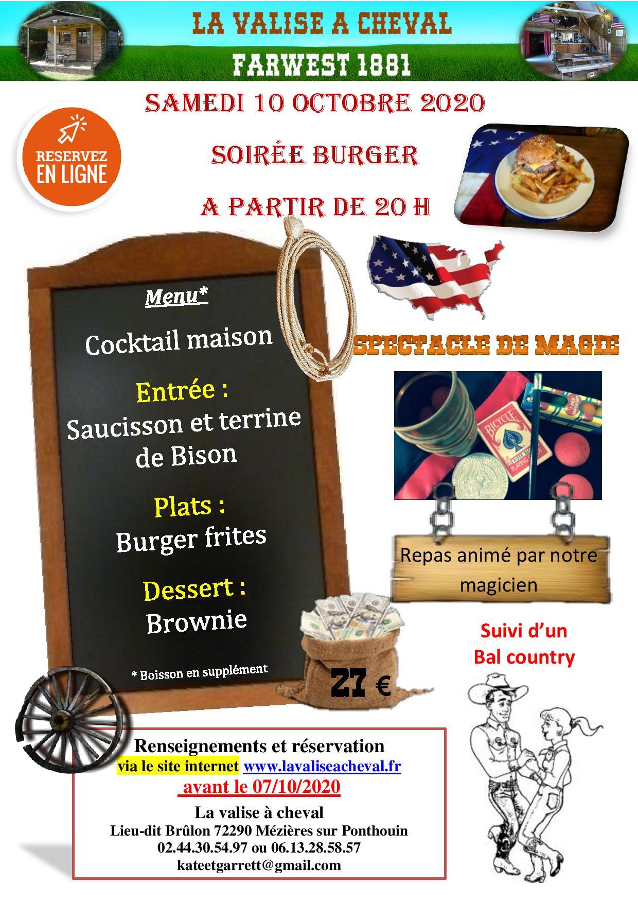 Soirée burger samedi 10 octobre 2020