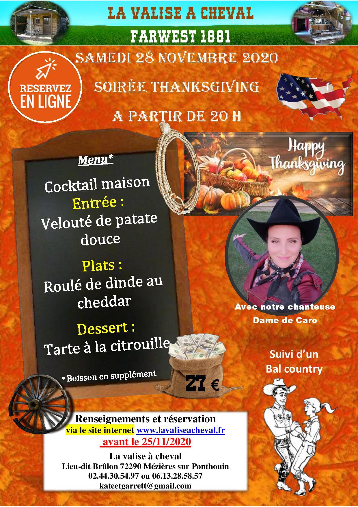 Soirée Thanksgiving samedi 28 novembre 2020