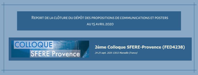 Appel à communications deuxième colloque  SFERE-Provence