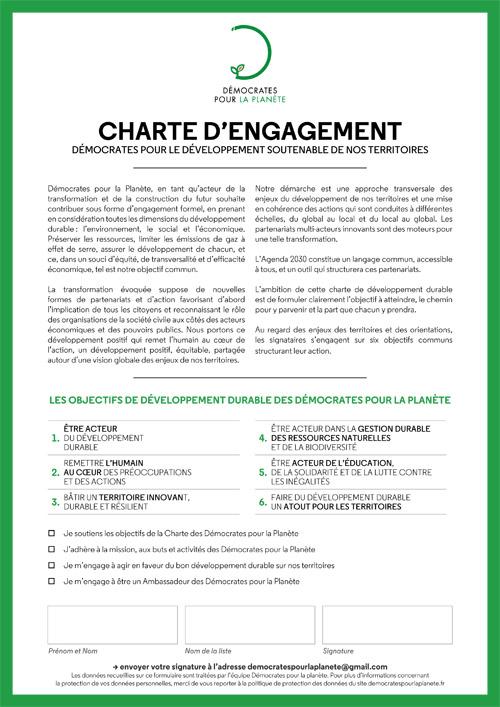 Charte d'engagement des Démocrates pour la Planète - régionales et départementales